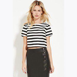 F21 Black+White Boxy Sheeny Stripe Crop Top sz S